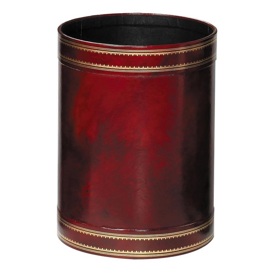 Handtooled Round Leather Wastebaskets Wastebaskets