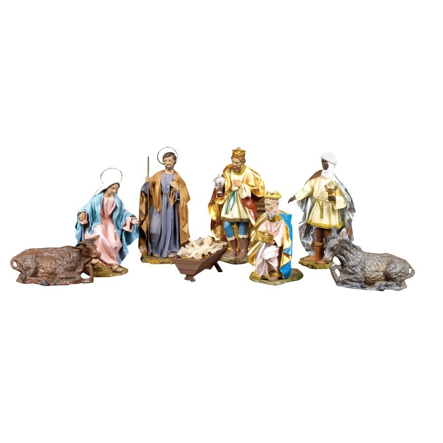 Italian Cartapesta Eight Piece Nativity Set Christmas
