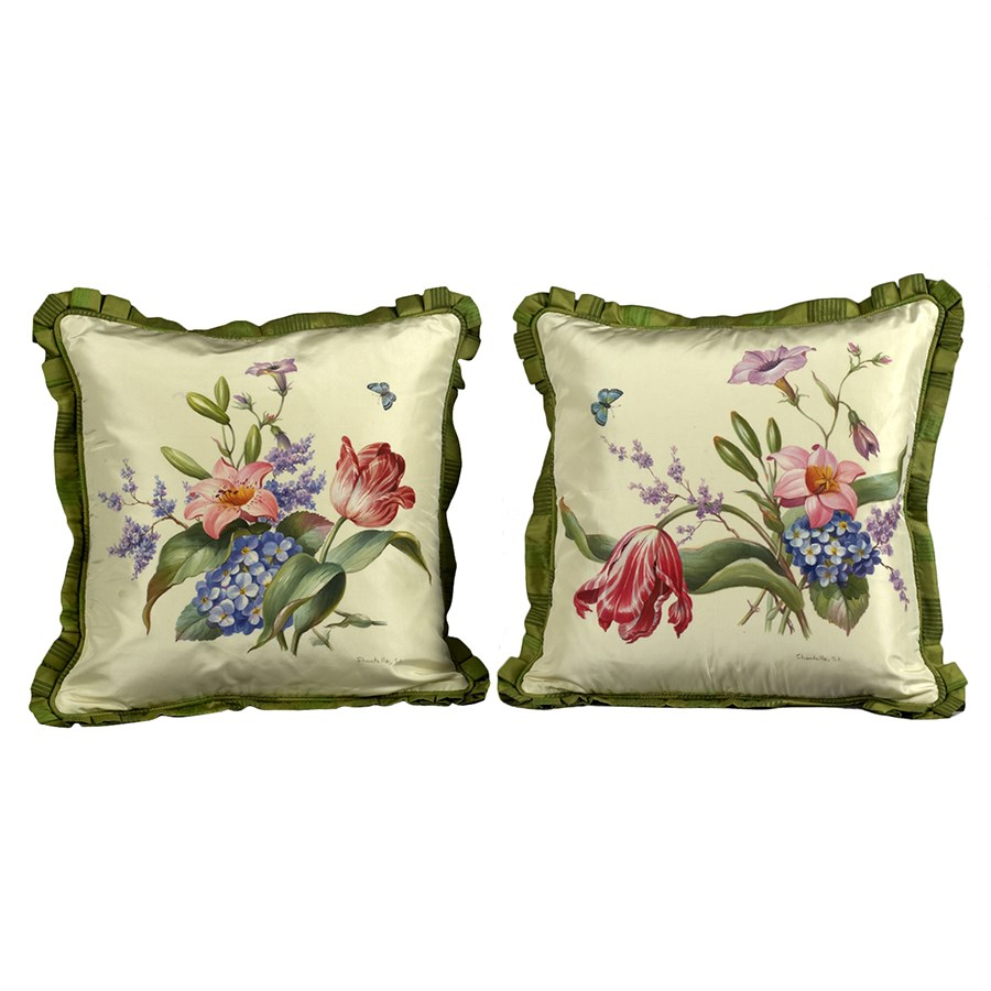 Hand painted tulip pillows pillows home decor for Hand painted pillows